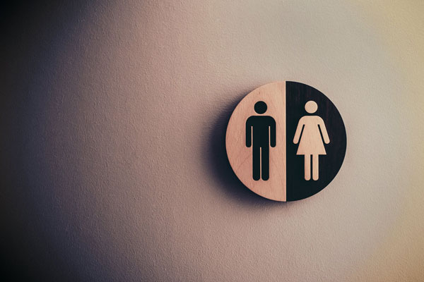 Men and women's bathroom signs